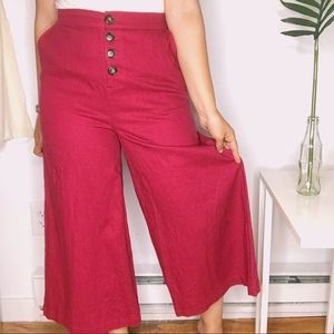 Who What Wear Burgundy Button Front Wide Leg Pants